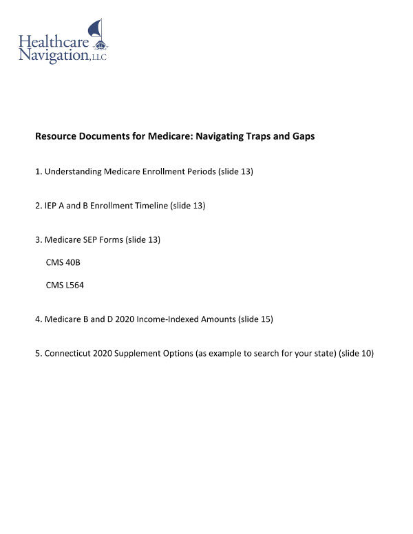 MedicareTraps and GapsResourceDocuments 01.05
